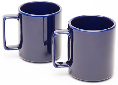 American Mug Pottery Ceramic Square Handle Coffee Mug, Made in USA, Cobalt Blue, 17 oz - Pack of 2 ()