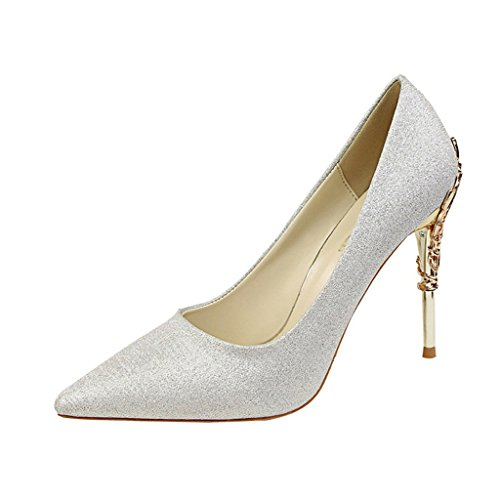 Silver Toe Sexy Pump PU High Pointed On fereshte Silk Metal and Slip Satin Women's Heels Heel Stilettos Dress Ufqnw1aA