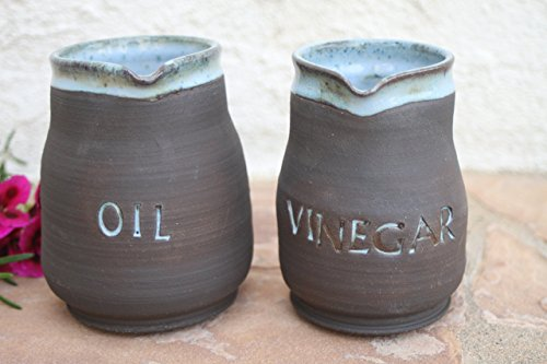 Oil and Vinegar cruet set, kitchen pottery pitcher (Marina Dining Set)