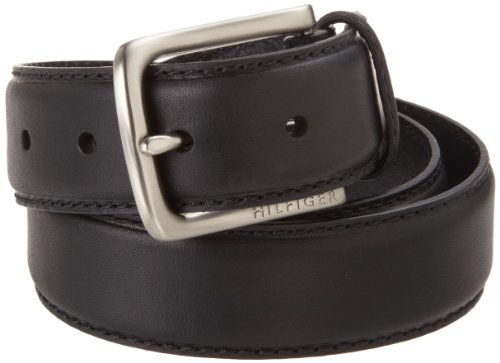Tommy Hilfiger Men's Leather Stitch Belt,Black,36