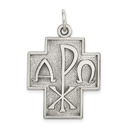 Mireval Sterling Silver Antiqued Alpha Omega Cross Pendant (approximately 29 x 22 mm) ()