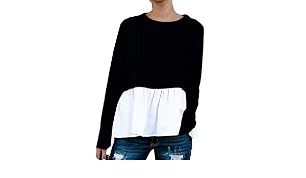 Manga Larga para Mujer con Cuello en O Cotton Fashion Bllouse Camiseta Camisetas sin Mangas ❤ Manadlian: Amazon.es: Ropa y accesorios