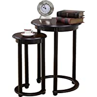 2-Piece Cherry Wood Nesting Tables with Crescent Base & Cabriole Legs