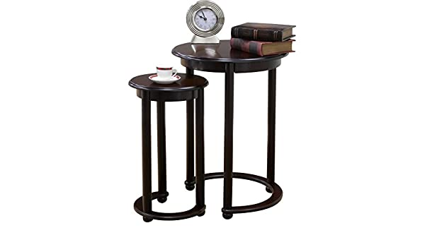 Amazon com  2 Piece Cherry Wood Nesting Tables with Crescent Base    Cabriole Legs  Kitchen   Dining. Amazon com  2 Piece Cherry Wood Nesting Tables with Crescent Base