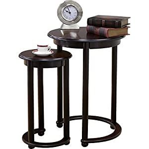 2 Piece Cherry Wood Nesting Tables With Crescent Base U0026 Cabriole Legs