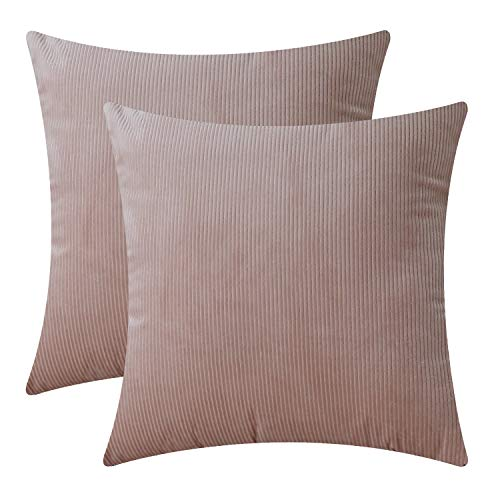 SONCA Pack of 2 Velvet Farmhouse Throw Pillow Covers Striped Decorative 18x18 Inch Modern Design Home Decor Pillowcases Corduroy Soft Soild Square for Couch Sofa Bedroom Car Pink