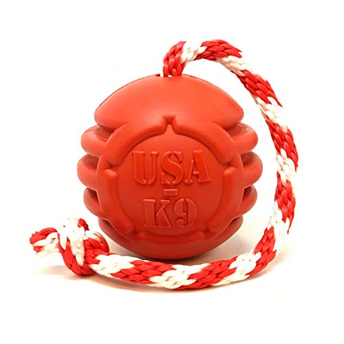 SodaPup USA-K9 Natural Rubber Stars and Stripes Reward Ball - Treat Dispenser - Slow Feeder - Training Reward Toy - Power Chewers - Red - Large