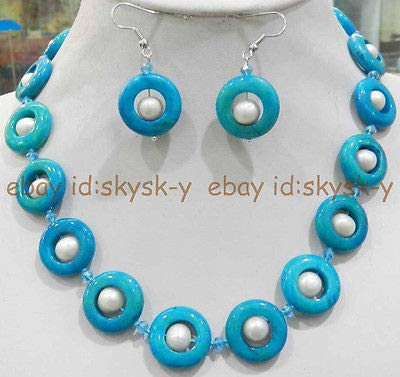 FidgetGear 20MM Blue Crude Turquoise Ring & True White Cultured Pearl Necklace Earrings Set ()