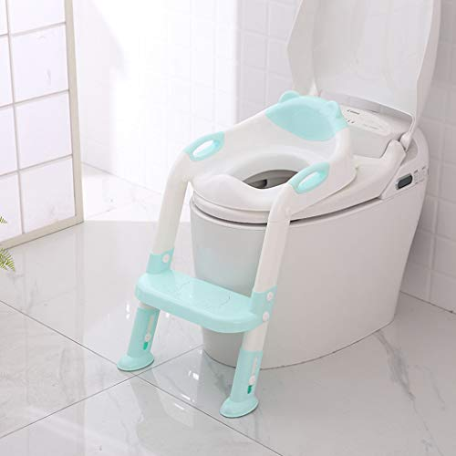 Salaks 【Ship from Ca or NJ Toilet Trainer Seat with Step Stool Ladder,Baby Child Potty Toilet Trainer Seat Step Stool Ladder Adjustable Training Chair for Boy and Girl (Blue)