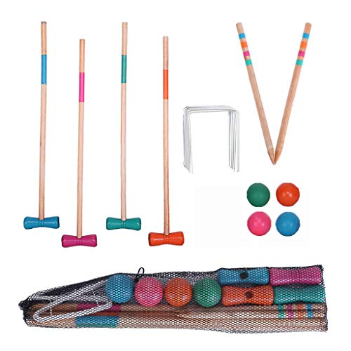 Samoii Sports Croquet Set, Teenagers Ball Games Croquet Wooden Handle Children Toys for Outdoor Sports