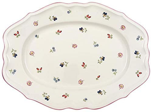 Petite Fleur Oval Platter by Villeroy & Boch - Premium Porcelain - Made in Germany - Dishwasher and Microwave Safe - 17 Inches