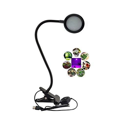 LED Pflanzenlampe, Intsun 8W Pflanzenleuchte, 2-Stufe Helligkeit, Pflanzen Lampen, Grow Licht Wachsen Lichter, Pflanzenlicht, Leuchtmittel LichtGewächshaus mit Flexible Hals und Stahl Clip für Zimmerpflanzen Blume und Gemüse