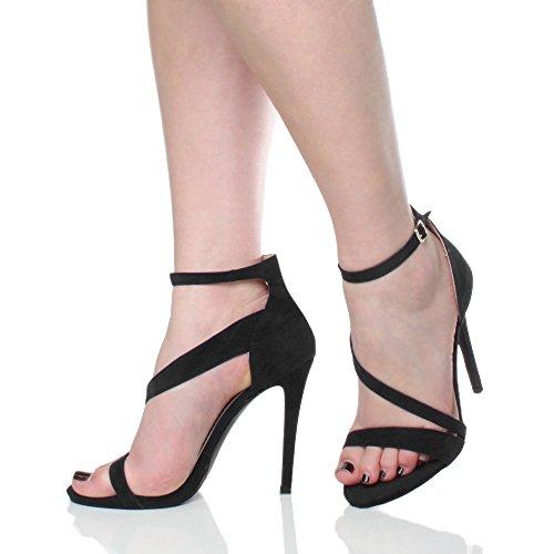 Ajvani Womens ladies high heel stiletto platform ankle strap party sandals shoes size Black Suede RwMwzn