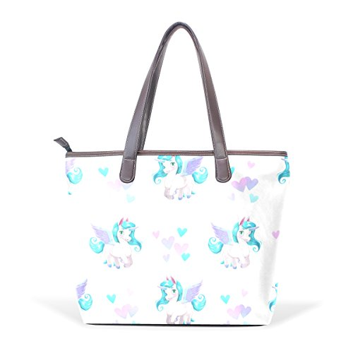 Bennigiry Large Unicorn Cartoon Shoulder Bags Patern Seamless Ladies Top Handle Tote Women Handbag Pattern Ar5x8FA