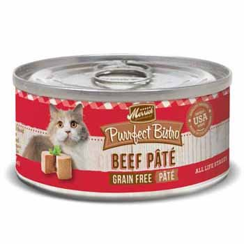 Merrick Purrfect Bistro Grain Free Beef Pate Canned Cat Food, 3 oz., Case of 24 by Merrick