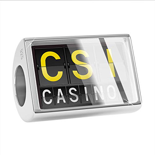 NEONBLOND Charm CSI Airport Code for Casino 925 Sterling Silver Bead
