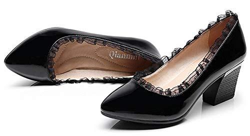 Noir Escarpins Moyen Chaussure Pointue Easemax EU Original Talon Femme Dentelle 37 1nZO8q
