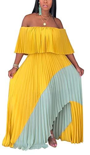 Geulis Women's Summer Ruffles Maxi Dress Off Shoulder Tiered Irregular Long Dresses Clubwear Yellow