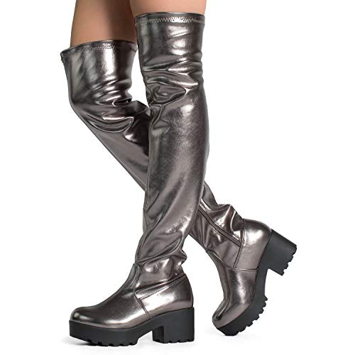 - Women's Fitted Lugged Sole Chunky Stacked Heel Over The Knee Boots Pewter Metallic (7)