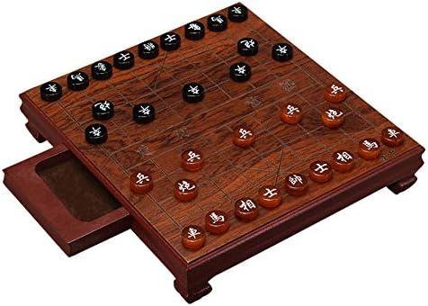 KUQIQI Caja de Madera de ajedrez Chino Xiang Qi ágata Piezas con cajón 24 * 22 * 4.5cm 32pcs / Set Juego de Puzzle Regalo de los niños,Ajedrez: Amazon.es: Hogar