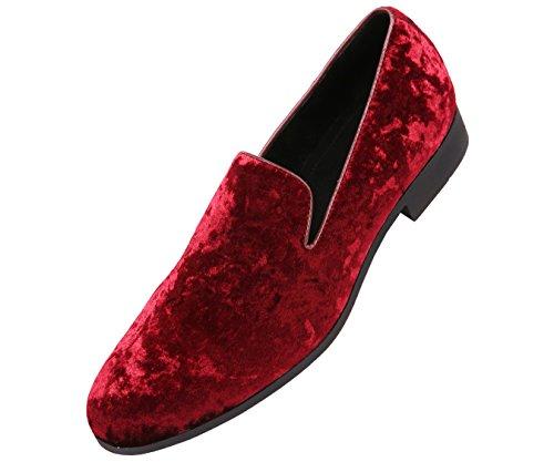 Burgundy Designer - Amali Mens Crushed Velvet Smoking Slipper Dress Shoe Slip On Nightclub Loafer Style Hauser