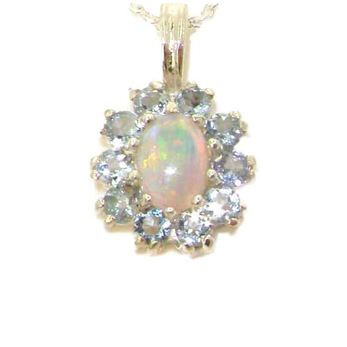 Ladies Solid 925 Sterling Silver Ornate Natural Opal & Aquamarine Oval Pendant (Genuine Oval Opal Pendant)