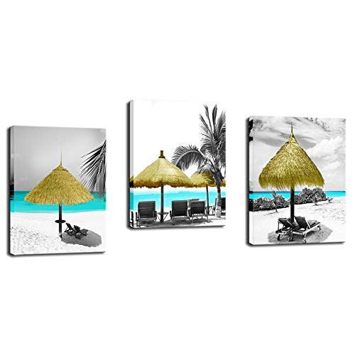 - Biuteawal - Beach Painting Wall Art for Living Room 3 Piece Seascape Canvas Prints Tropical Palm Tree Island Sandy Seaside Picture Art for Home Bathroom Wall Decoration Easy Hanging