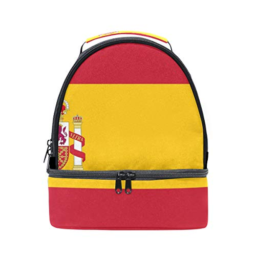HEOEH Spain Flag Peace Hand Lunch Bag Insulated Lunch Box Cooler Tote Bag Adjustable Strap Handle by HEOEH