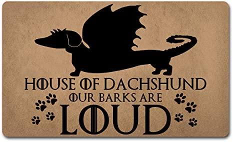Welcome Mat Funny Doormats Anti-Slip Door Mat for Entrance Way Indoor Front Door Kitchen Mats and Rugs Area Rugs Rubber Mat 18 W x 30 L House of Dachshund Our Barks are Loud Game of Throne