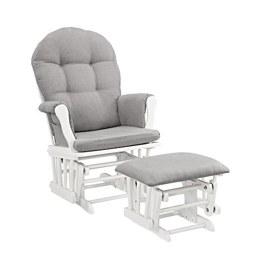 Windsor Glider and Ottoman, White with Gray Cushion (Puff Rocking Chair)