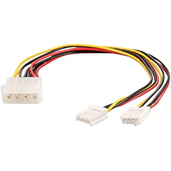 C2G/Cables to Go 03165 One 5.25 Inch to Two 3.5 Inch Internal Power Y-Cable, Multi-Color (10 Inch)