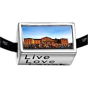 Chicforest Silver Plated Travel Bamberg train station Photo Live Love Laugh Charm Beads Fits Pandora Bracelets