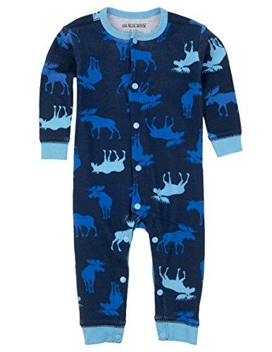 Little Blue House By Hatley Baby Boys' Romper,Blue Moose,3M-6M