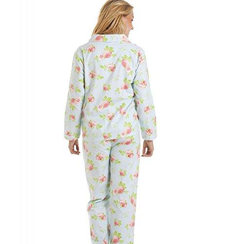 Conjunto de pijama largo - Estampado floral - Franela - Azul y rosa Azul