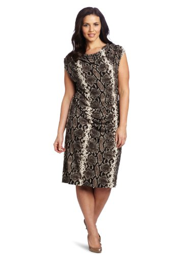 New York Matte Jersey - Jones New York Women's Plus-Size Extended Draped Neck Dress, Multi, 2X