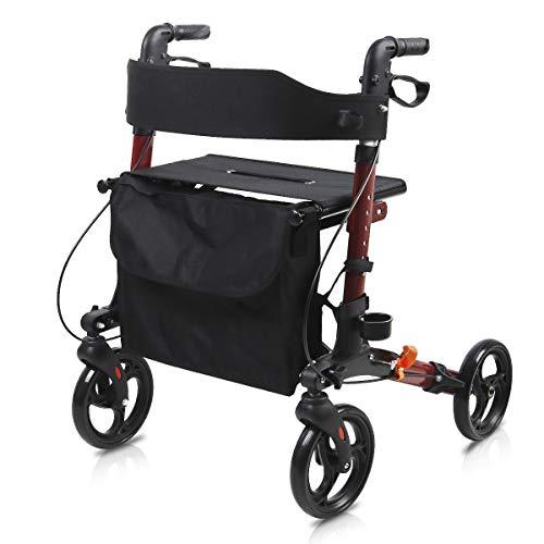 Rollator Walker, Give Me Rolling Four Wheel Walker with Seat&Bag, 8-inch Wheels,Folding Walker for Seniors