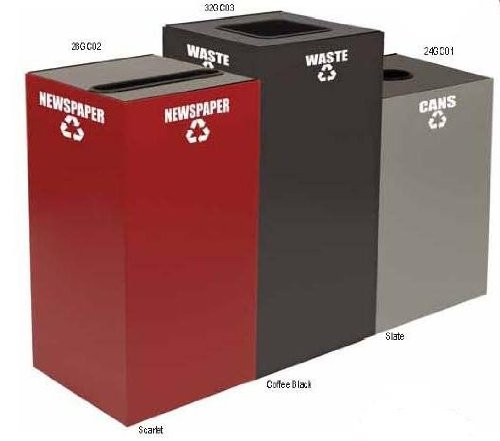 Witt Industries 24GC01-SL Steel 24-Gallon Geo Cube Recycling Container, Round Opening, Legend ''Cans'', Square, 15'' Width x 15'' Depth x 24'' Height, Slate by Witt Industries