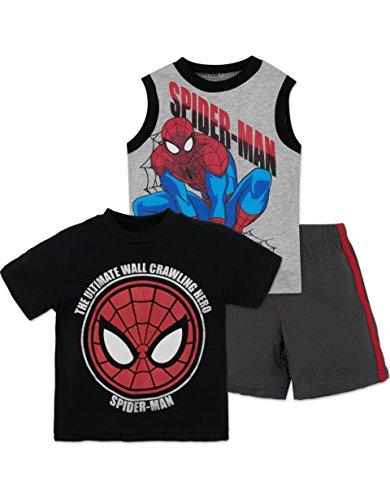 Marvel Spiderman Boys' Shirt, Tank Top and Shorts Set, Black (4T)
