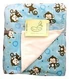 Monkey Toss Crib Throw Blue Monkey Reversing to Cream Butterfly Fleece