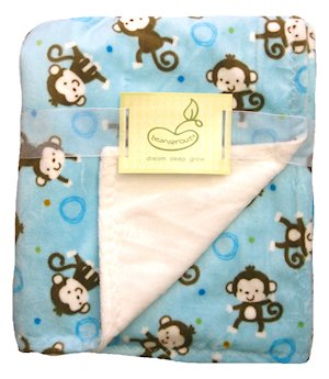 Monkey Toss Crib Throw Blue Monkey Reversing to Cream Butterfly Fleece by Pem America