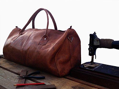 Vintage Design Weekender Tasche aus Leder. Reisetasche, Bordtasche und Sporttasche für Herren/ Damen in braun