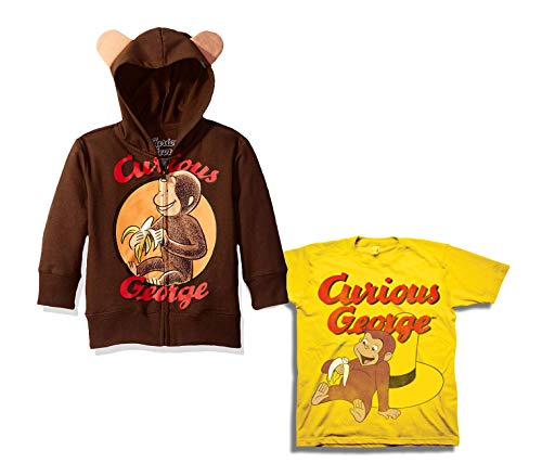 Curious George Hoodie Shirt Set - 2 Pack of Curious George Hoodie and Tee (Brown/Yellow, 2T) -