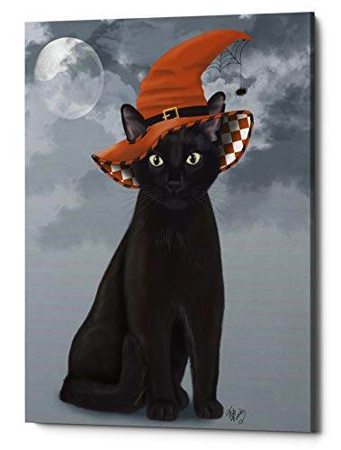 Epic Graffiti 'Halloween Black Cat in Witches Hat' by Fab Funky Giclee Canvas Wall Art, 18