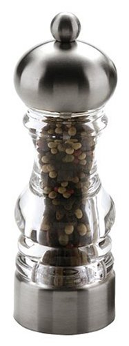 MIU France Brushed Stainless Steel and Acrylic Grinder for Salt or Pepper