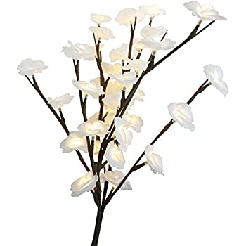 Babali White Rose Lighted Branches 20 Inch Tall Battery Operated Warm White 40 Led Flowers Decoration Branch Crafts With Timer