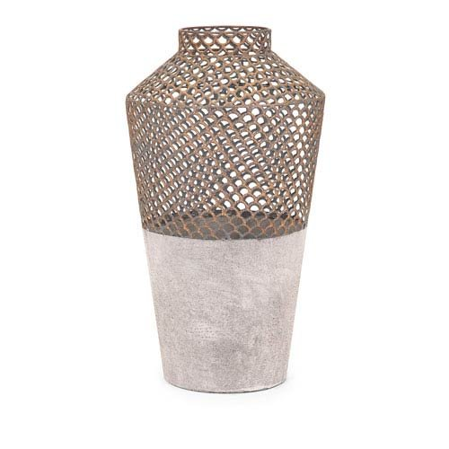 IMAX 83629 Rowan Large Metal Vase, Gray/Gold (Vases Urns Large And)