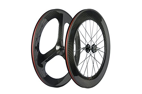 Sunrise Bike Carbon Fixed Gear Bike Wheelset Front 70mm Rear 88mm with 12k Gloosy Finish