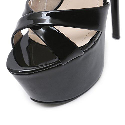 Alto Tacco 308 Donna Dance Sexy Di Heels Black Sexy Elegante A19 Testa GZSL High Pole Metallo Pesce KJJDE Super Squisito Strass Sandali qYtdYE