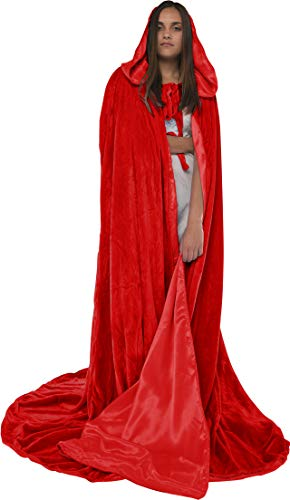 Artemisia Designs Velvet Hooded Renaissance Cloak Medieval Cape Lined with Satin Men and Women Red ()
