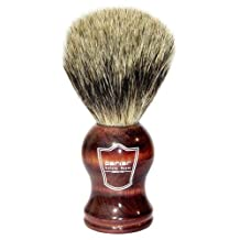 """Parker Safety Razor Premium Handmade """"LONG LOFT"""" 100% Pure Badger Bristle Shaving Brush with Rosewood Handle -- Brush Stand Included"""